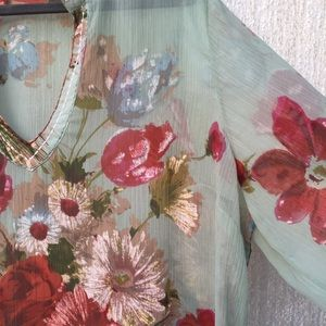Soft Surroundings Sheer Floral Print Blouse